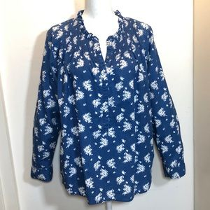J.Crew Blue Floral Smocked Ruffled Shirt Top 12